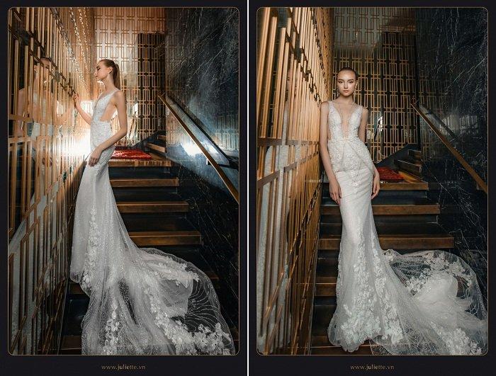 Dáng váy đuôi cá này là một trong những mẫu váy cưới đẹp 2018